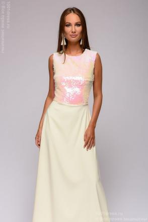 Платье ванильного цвета длины макÑи без рукавов Ñ Ð¿Ð°Ð¹ÐµÑ'Ð26ordm;ами